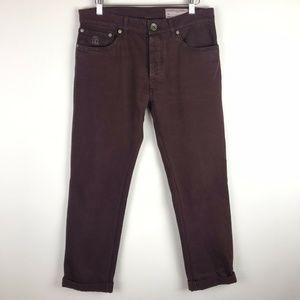 Brunello Cucinelli Jeans Brown Burgundy Button Fly